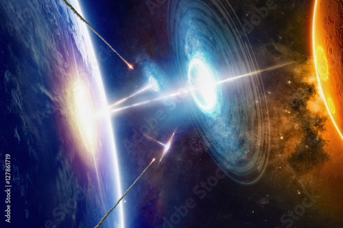 Extraterrestrial aliens spaceships hits planet Earth