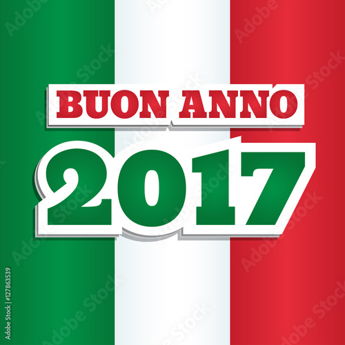 vector greeting card with text happy new year 2017 in italian abstract background