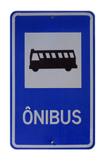 Bus Stop Sign On White Backgro...