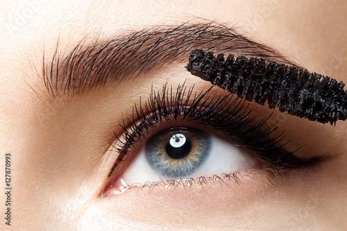 Valokuva  Close-up of make-up eye with long lashes with black mascara
