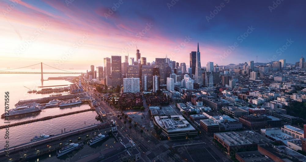 Fototapety, obrazy: San Francisco panorama at sunrise with waterfront and downtown. California theme background. Art photograph.