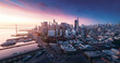 canvas print picture - San Francisco panorama at sunrise with waterfront and downtown. California theme background. Art photograph.