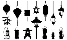 Silhouette Of Lantern Icon Illustration - Arabic Chinese Japanese And Modern