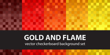 """Checkered Pattern Set """"Gold And Flame"""". Vector Seamless Backgrounds"""