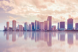 Beautiful Miami Florida skyline at sunset and Biscayne Bay - 127878349