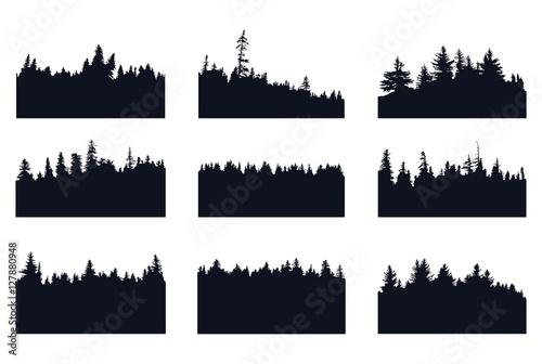 Fotografija  Set of forest silhouette