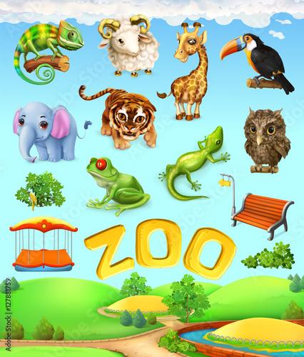 Zabawny zestaw zwierząt. Słoń, żyrafa, tygrys, kameleon, tukan, sowa, owca, żaba. Zoo 3d zestaw ikon wektorowych