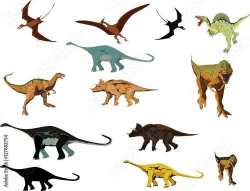 Photo  Cartoon dinosaurus vector collection set, isolated on white vector illustration