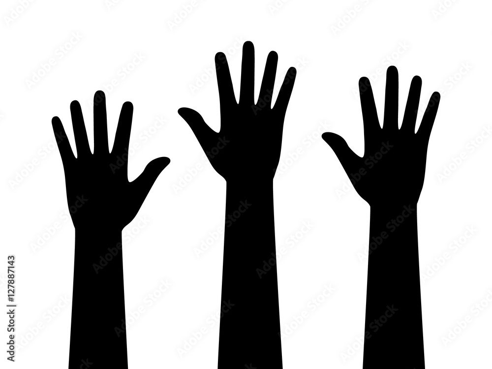 Fototapeta People or students with their hands raised flat icon for apps and websites