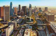 Aerial View Of A Downtown LA A...