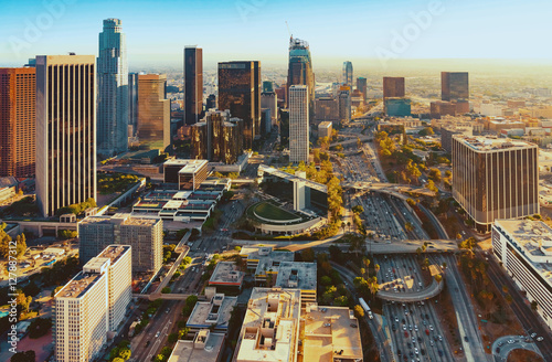 aerial-view-of-a-downtown-la-at-sunset
