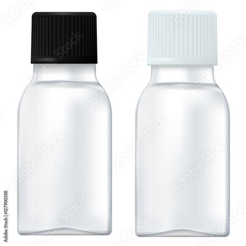 Photo  Medicine bottle. Small white bottle with plastic cap