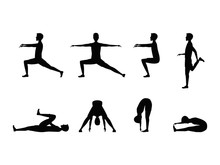 Stretching Exercise Set With Silhouette Man. Vector