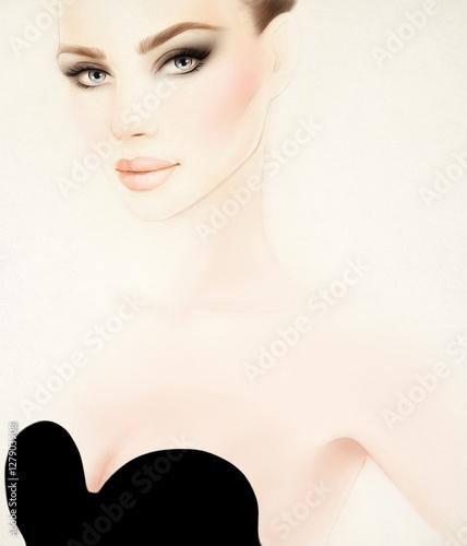 Poster Portrait Aquarelle Woman portrait. Fashion illustration