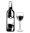 Wine Glass and Botlle. Alcohol Drink Vintage vector Elements. Isolated On White