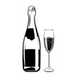 champagne bottle and glass, Alcohol Drink Vintage vector Elements. Isolated On White