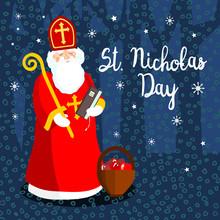 Saint Nicholas In The Night, Vector Greeting Card