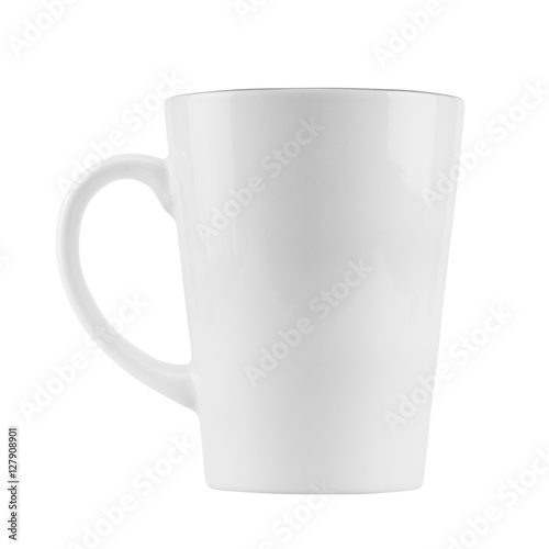 empty white coffee cup isolated on white background