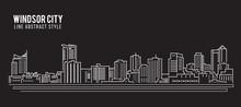 Cityscape Building Line Art Vector Illustration Design - Windsor City