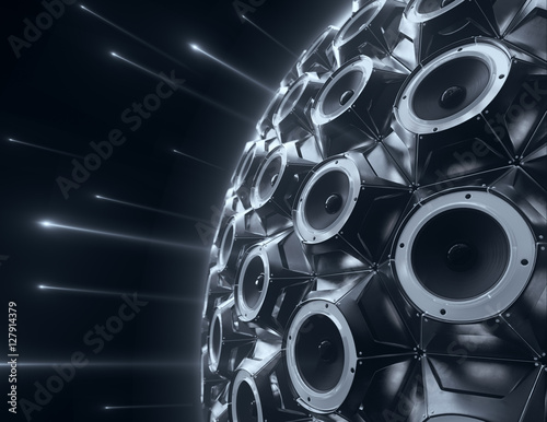 Fotografía  black sphere of audio speakers and several opticle flare