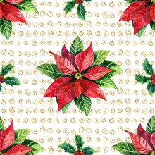 Watercolor Poinsettia Seamless Pattern