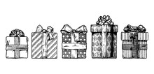 Hand Drawn Illustration Of Gift Boxes
