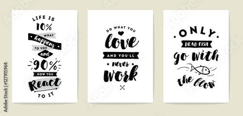 Staande foto Retro sign Typography cards set.