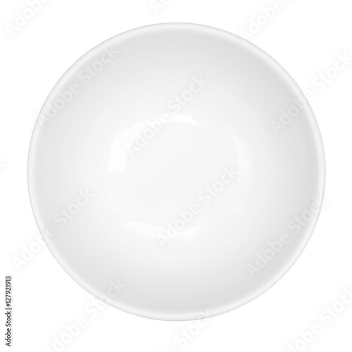 Photo  Empty White Bowl Isolated Top