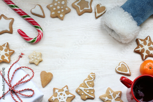 Garden Poster Cookies many surprises from the boot santa/ flat layout of festive items on the table top view