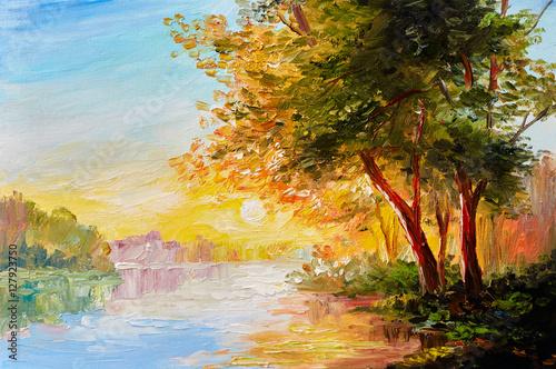 obraz-olejny-krajobraz-rzeka-w-lesie-wiosna-z-zachodu-slonca-po-poludniu