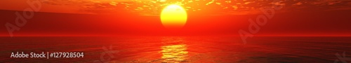 Photo sur Toile Rouge Panorama sunset at sea. Sunrise in the ocean.