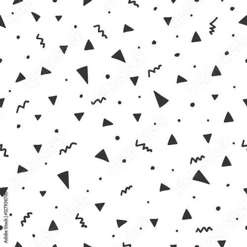 obraz dibond Hand drawn seamless pattern with triangle confetti