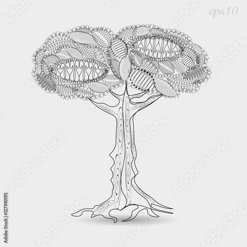 Openwork Tree Graphics Drawing Abstract Design Author Krone Leaf