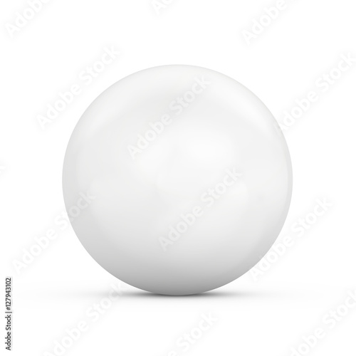 Spoed Foto op Canvas Bol White ball isolated on white background. 3d rendering