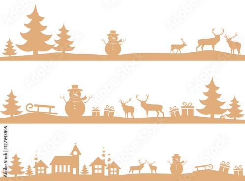 Winter landscapes - Gold Wallpaper Mural