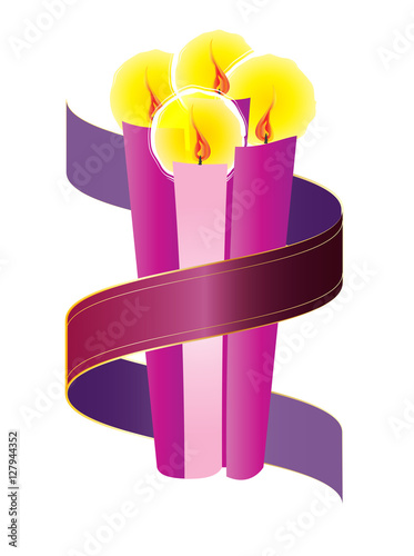 advent candles wreath with purple violet ribbon fourth sunday of advent christmas season holiday