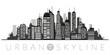 Urban skyline. Cityscape vector illustration in shades of gray.