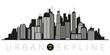 Urban skyline silhouette vector illustration
