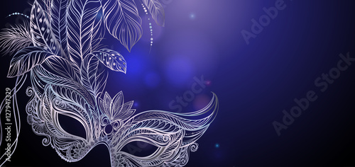 Obraz Vector Illustration. Silver carnival mask with feathers. Beautiful concept design for greeting card, party invitation, banner or flyer. - fototapety do salonu