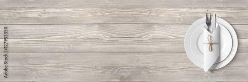 Fototapeta Basic table setting (wooden table) - backround / banner obraz