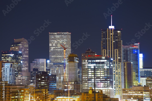 Fototapety, obrazy: Denver downtown skyline at night, Colorado, USA