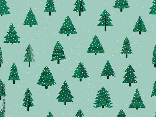 Stoffe zum Nähen Nahtlose Muster mit Weihnachtsbäumen in einem flachen Stil. Geschmückter Weihnachtsbaum. Vektor-Illustration.