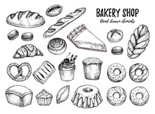 Hand Drawn Vector Illustration - Set With Sweet And Dessert (cro