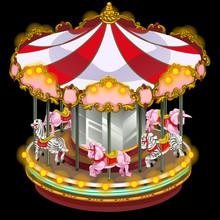 Merry-go-round With Zebra And Unicorn. Vector