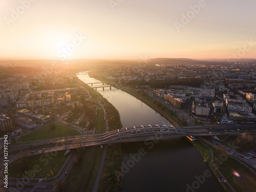Aerial view of the Vistula River in Krakow with modern bridge