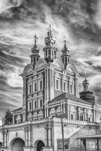 Tuinposter Drawn Street cafe Orthodox church inside Novodevichy convent, iconic landmark in M