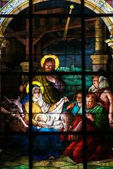 Naklejka Nativity Scene at Christmas - Stained Glass