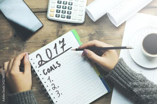 Photo  2017 goals on notebook
