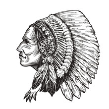 American Indian Chief. Hand-drawn Sketch Vector Illustration