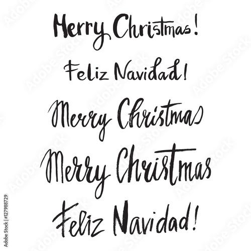 christmas card template hand drawn lettering merry christmas feliz